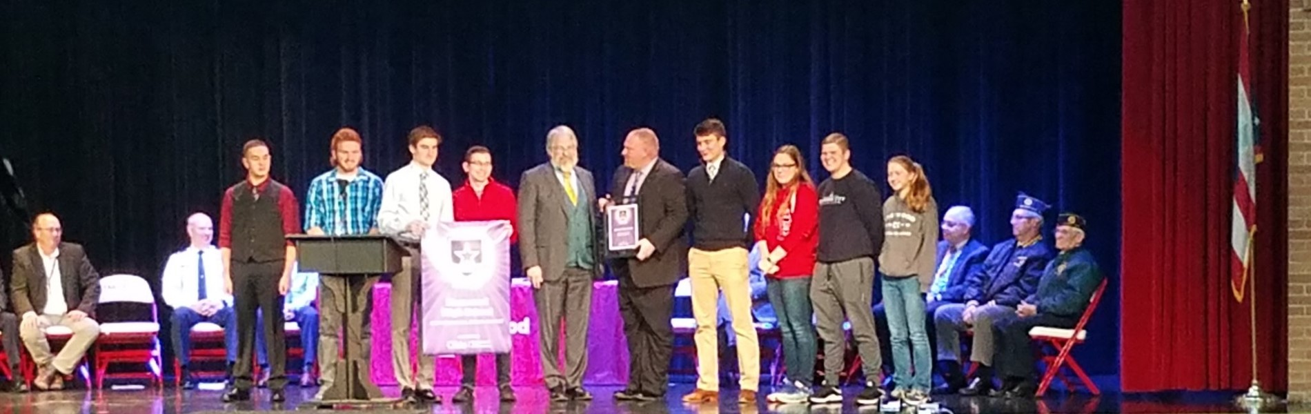Ohio Superintendent Paolo DeMaria awards EHS The Purple Star Award