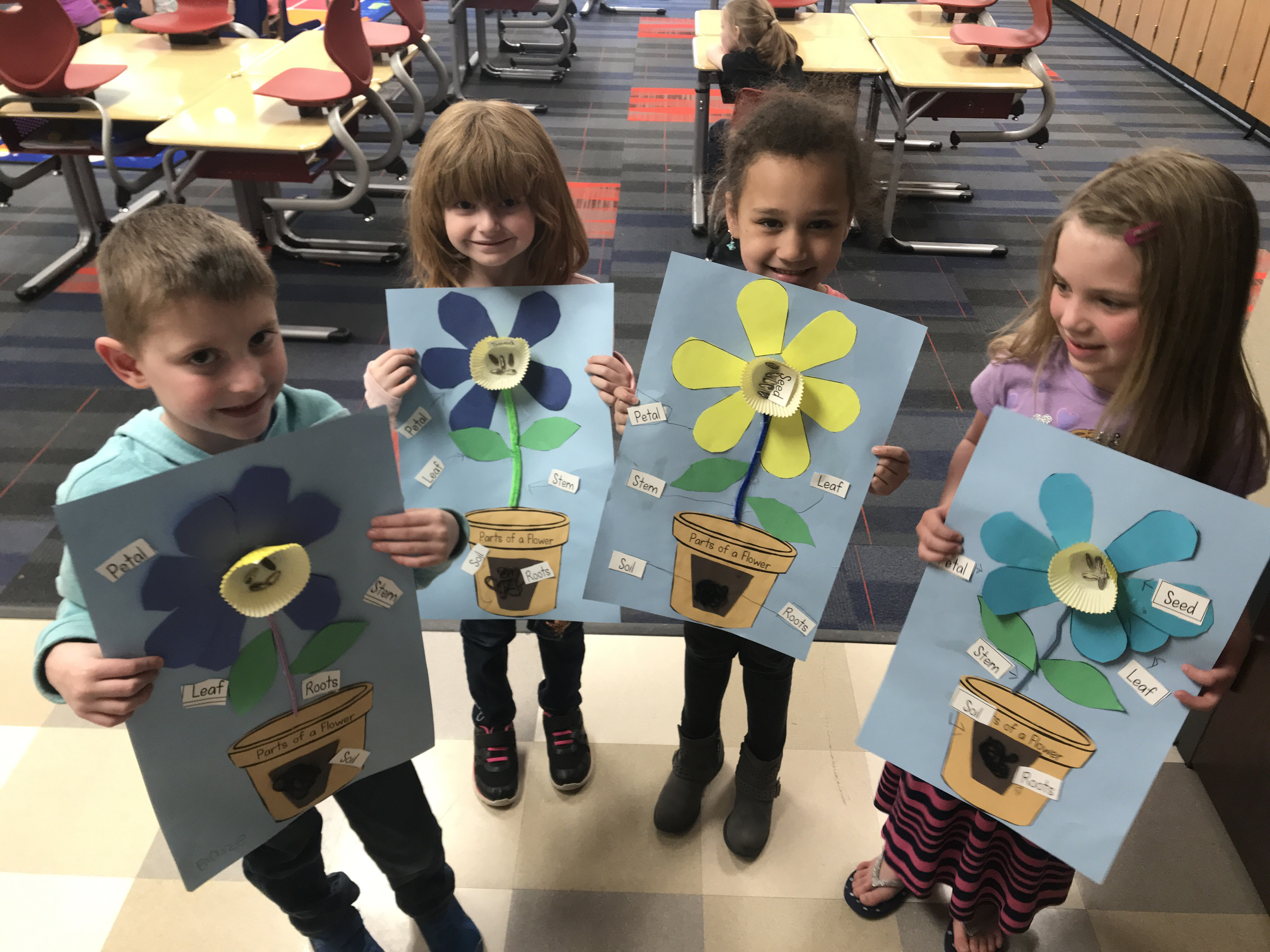 students with pictures of flower parts