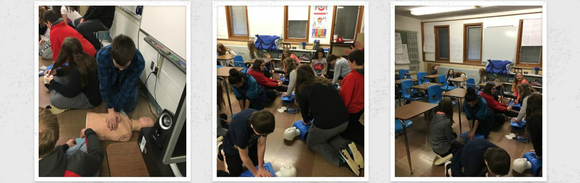 High school health class students complete CPR and AED training