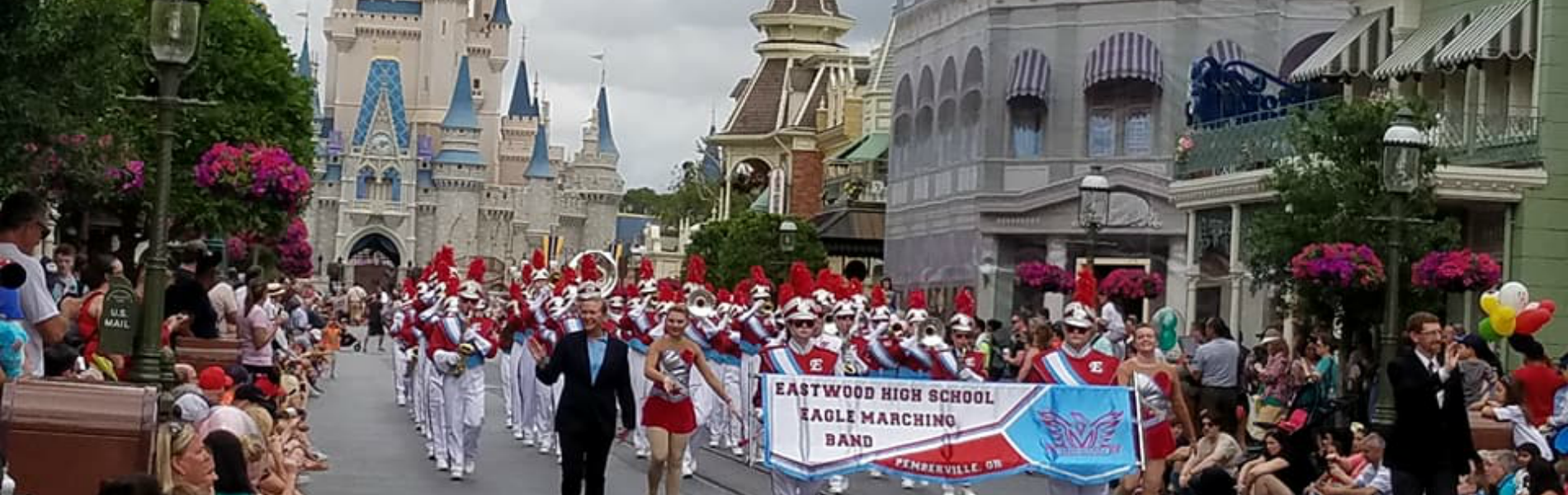 Marching band performs in Magic Kingdom's Festival of Fantasy parade at Disney in Orlando